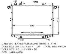 Радиатор основной TOYOTA LANDCRUISER HDJ101 1HD-FTE 16400-66120 TO-0165-36