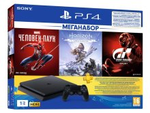Игровая приставка Sony PlayStation 4 Slim 1Tb CUH-2208B + Gran Turismo Sport + Horizon Zero Dawn CE + Spider-man + PS Plus 3 месяца PS719391302