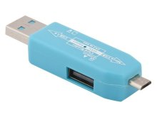 Карт-ридер Liberty Project USB/Micro USB OTG - Micro SD/USB Light Blue R0007635