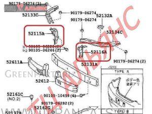 Крепление бампера на Toyota Mark II GX110 1G-FE